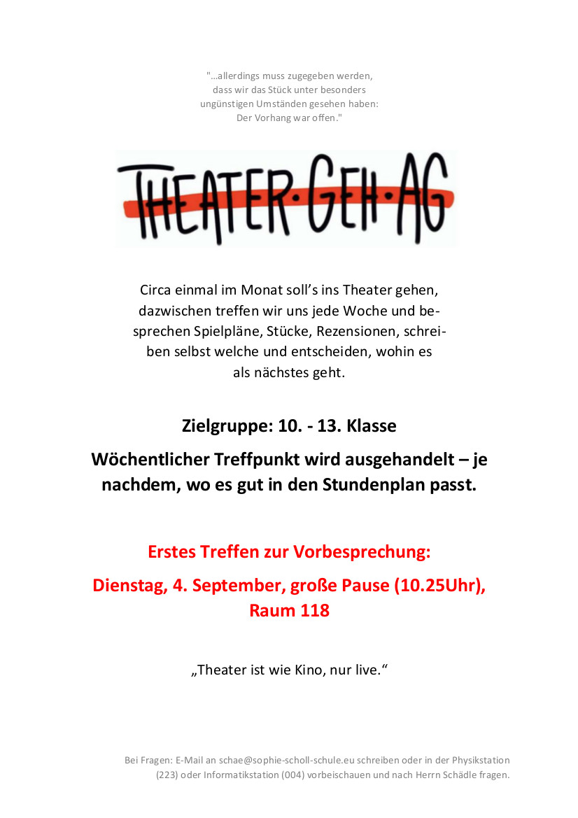Flyer Theater Geh AG